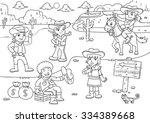 illustration of cowboy wild... | Shutterstock .eps vector #334389668