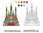 coloring book with a contour... | Shutterstock .eps vector #334390016