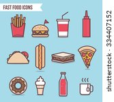 fast food flat design elements... | Shutterstock .eps vector #334407152