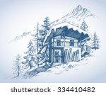 ski hut in mountains resort | Shutterstock .eps vector #334410482