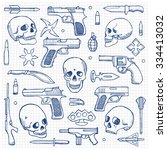 hand drawn doodle set with... | Shutterstock . vector #334413032