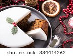 Christmas Fruit Cake On Wooden...