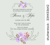invitation or wedding card with ... | Shutterstock .eps vector #334433642