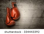 boxing gloves hanging on... | Shutterstock . vector #334443392