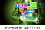 business man using tablet pc... | Shutterstock . vector #334447766