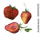 watercolor strawberries... | Shutterstock . vector #334454252