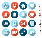 contact icons with long shadow | Shutterstock .eps vector #334467818