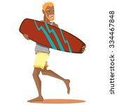 man with surfing board isolated.... | Shutterstock .eps vector #334467848