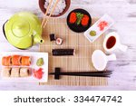 served table for sushi party ... | Shutterstock . vector #334474742
