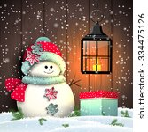 Cute Snowman With Colorful...