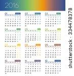 calendar for 2016 on white... | Shutterstock .eps vector #334478378