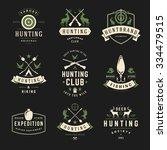 set of hunting and fishing... | Shutterstock .eps vector #334479515