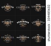 set of hipster vintage labels ... | Shutterstock .eps vector #334485632