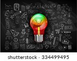 idea concept with light bulb...   Shutterstock . vector #334499495