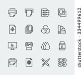 printing vector icon set in... | Shutterstock .eps vector #334499612