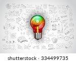 idea concept with light bulb...   Shutterstock . vector #334499735