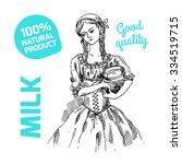 Sketch Of Milkmaid. Vector Han...
