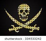vector gold skull. jolly roger. ...   Shutterstock .eps vector #334533242