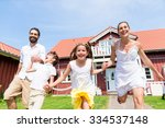 happy family running on meadow... | Shutterstock . vector #334537148