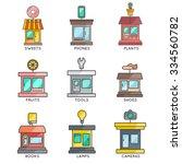 store buildings set. vector... | Shutterstock .eps vector #334560782