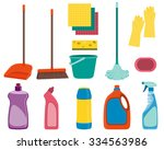 set tools for cleaning isolated ... | Shutterstock .eps vector #334563986