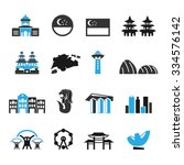 singapore icons set vector   Shutterstock .eps vector #334576142
