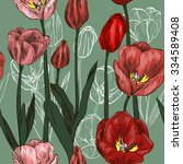 Seamless Pattern With Red Tulip ...