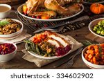 full homemade thanksgiving... | Shutterstock . vector #334602902