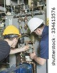 two repairmans engineer or... | Shutterstock . vector #334613576