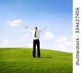 Small photo of Businessman Solitude Relaxation Freedom Success Concept