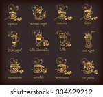 vector doodle set with... | Shutterstock .eps vector #334629212