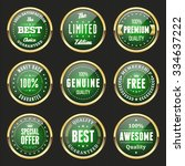 collection of green labels and... | Shutterstock .eps vector #334637222