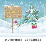 wooden sign merry christmas and ... | Shutterstock .eps vector #334638686