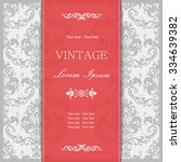 vintage invitation card with... | Shutterstock .eps vector #334639382