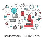 thin line scientific modern... | Shutterstock .eps vector #334640276