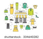 Stock vector thin line fashion clothing modern illustration concept infographicthings that you can buy in the 334640282