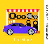 tire store automobile flat... | Shutterstock .eps vector #334641146