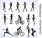 set of female silhouettes... | Shutterstock .eps vector #334643666