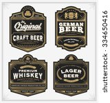 Vintage frame design for labels, banner, sticker and other design. Suitable for whiskey, beer and premium product. All type use free font. | Shutterstock vector #334650416