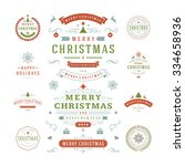 christmas labels and badges... | Shutterstock .eps vector #334658936