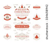 christmas labels and badges... | Shutterstock .eps vector #334658942