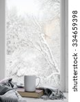 cozy winter still life  mug of... | Shutterstock . vector #334659398