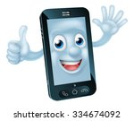mobile phone cartoon character... | Shutterstock .eps vector #334674092