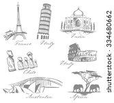 countries symbols sketch ... | Shutterstock .eps vector #334680662