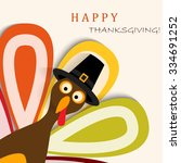happy thanksgiving turkey | Shutterstock .eps vector #334691252