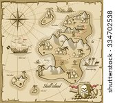 treasure island vector map in... | Shutterstock .eps vector #334702538