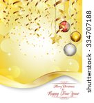 merry christmas and happy new... | Shutterstock . vector #334707188