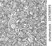 cartoon hand drawn doodles on... | Shutterstock .eps vector #334708595