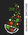 fresh salad  organic food ... | Shutterstock .eps vector #334714268