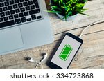 full battery green icon in a... | Shutterstock . vector #334723868